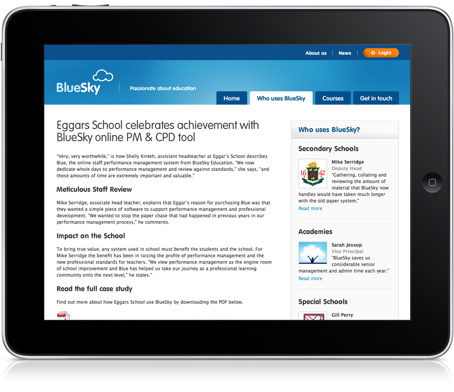 Large screenshot of Blue Sky Education